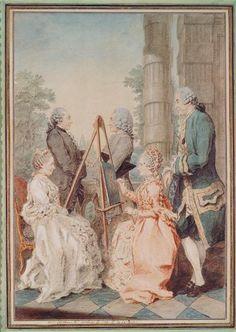 Mlle Chatelin, Monsieur Brot, Monsieur de la Myre, Madame Chatelin, et le Chevalier de Lussan, c. 1760's by Louis Carrogis Carmontelle (1717-1806) (Chantilly)