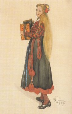 Carl Larsson. Lisbeth playing the Accordion 1909/ beautiful hair, outfit and playing the accordian-looks just like my sister