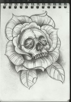 skull inside of a rose tattoo design