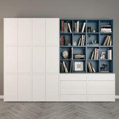 Discover recipes, home ideas, style inspiration and other ideas to try. Ikea Office Storage, Ikea Living Room Storage, Home Living Room, Living Room Decor, Ikea Eket, Ikea Hack, Casa Milano, Casa Loft, Ikea Bedroom