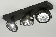 Spot 72037 modern design industrie look aluminium zwart mat langwerpig
