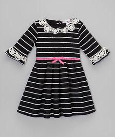 Look at this #zulilyfind! Black & White Stripe Crocheted-Trim Dress - Toddler by Speechless #zulilyfinds