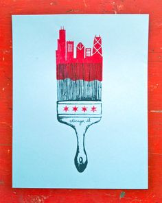 Chicago, paint the town. $20.00, via Etsy.