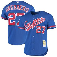 Vladimir Guerrero Montreal Expos Mitchell & Ness Cooperstown Collection Mesh Batting Practice Button-Up Jersey - Royal Jersey Outfit, People Brand, Montreal Canadiens, Sweatshirts, How To Wear, Mesh, Shopping, Button, Collection