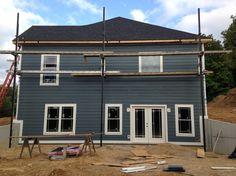Left Side Of House LP Smart Siding In Sherwin Williams Grays Harbor #6236.  Custom