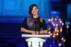"""Demi Lovato wears a blazing smile during a taping of Logo TV's """"Trailblazers"""" special on June 23 in New York"""