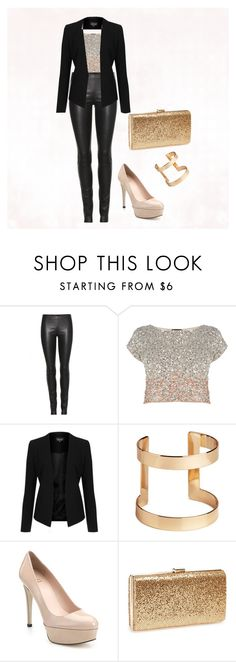 """""""Leather and Sparkles"""" by glennyfranzen on Polyvore featuring The Row, Coast, Topshop, H&M, Stuart Weitzman and Natasha Couture"""