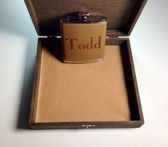 Groomsmen Cigar Box & Flask Gift Set  Laser by TheSmilinBride, $39.95
