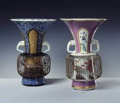 """They are labeled """"Vogelbauervasen"""" (I translate that as Bird-Farmer-Vases); the one on the left is from Arita, Japan, from 1700; the one on the right is Meissen, 1727."""