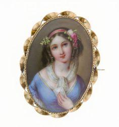 Painted Porcelain Portrait Set In Gold Brooch  c.1860
