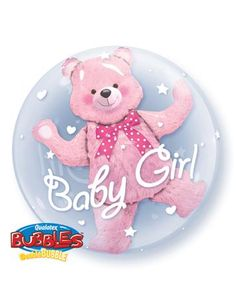 Baby Girl Pink Bear Double Bubble Balloon Birthday Party Decorations Toys For Kids Animal Foil Balloons Baby Ballon, Baby Boy Balloons, Ballon Rose, Qualatex Balloons, Bubble Balloons, Baby Shower Balloons, Foil Balloons, Birthday Balloons, Pink