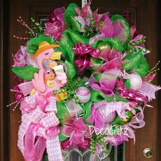 Flamingo Lovers PINK FLAMINGO WREATH with Pink and by decoglitz