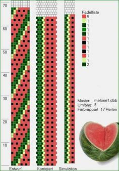 Bead crochet rope pattern - watermelon - 4 colors, 8 around