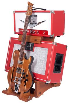 This is Cool-Low Rider Hardwood Amp Stand with Table Top and Kick-out Guitar Stand