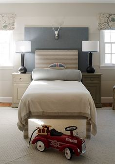 Love the double headboard -- for the kid's room. East Coast Creative