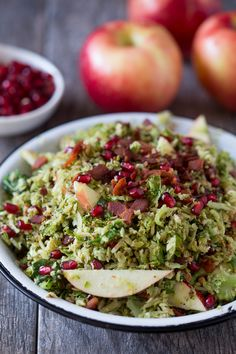 Shaved Brussels sprout apple bacon salad