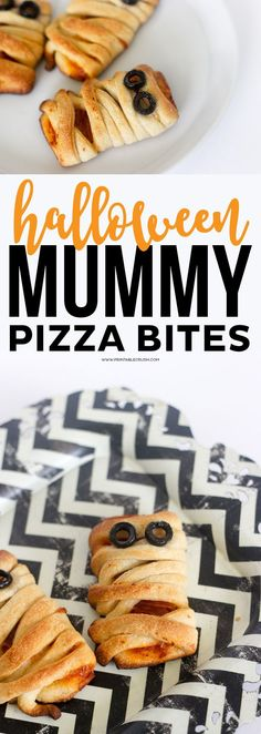 These Halloween Mummy Pizza Bites are adorable and incredibly easy to make! Your kids will love them for your next Halloween Party! Halloween Pizza, Halloween Food For Party, Diy Halloween, Halloween Treats, Spooky Treats, Halloween Dinner, Halloween 2018, Halloween Stuff, Halloween Decorations