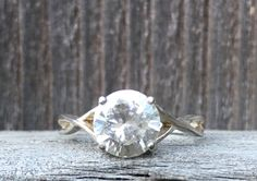 Vintage .925 Sterling Silver, Size 8, Solitaire, Round Cut Cubic Zirconia, Engagement, Wedding Ring. by VintageNprints on Etsy https://www.etsy.com/listing/540239809/vintage-925-sterling-silver-size-8