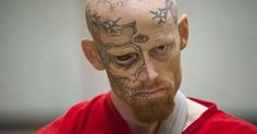 Shooting: Jason Barnum, pictured, was charged with shooting a police officer on Friday (omg, I would not like to ever run into someone who looks like him) never seen a tattooed eyeball before. Scary People, Evil People, Scary Things, Scary Stuff, Piercing, Prison Inmates, Tattoo Fails, Face Tattoos, Scary Tattoos