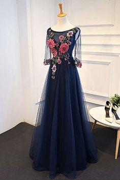 Navy Blue Prom Dresses #NavyBluePromDresses, Blue Prom Dresses #BluePromDresses, Prom Dresses Long #PromDressesLong, A-Line Prom Dresses #ALinePromDresses, Long Sleeves Prom Dresses #LongSleevesPromDresses