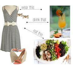 Such a fun twist for a fashion post.  Dress, drink & dine, links included.  via @JackieofSPS