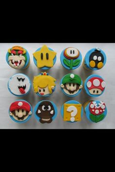 Super Mario Cupcakes with Fondant Toppers - Cake by Denise Frenette Cupcakes Super Mario, Kid Cupcakes, Super Mario Party, Fondant Cupcake Toppers, Fondant Molds, Cupcake Cakes, Cup Cakes, Race Car Birthday, Cars Birthday Parties