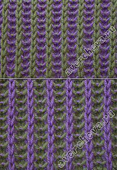 Двухцветная английская резинка с вертикальными полосами | каталог вязаных спицами узоров