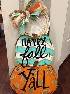 Pumpkin Stack Door Hanger by OurHouseofHudson on Etsy