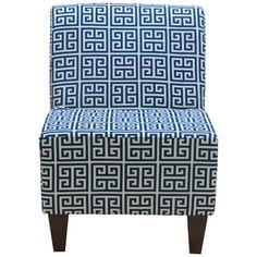 Fox Hill Trading Penelope Armless Towers Blue Slipper Chair & Reviews   Wayfair