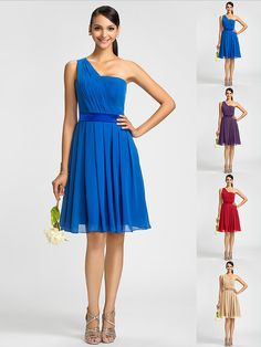 Homecoming Bridesmaid Dress Knee Length Chiffon A Line Princess One Shoulder Dress (590990) - USD $ 69.99