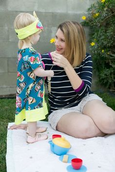 How adorable is this spring mommy and me outfit? That striped tee and the butterfly dress? Perfect for warm weather!