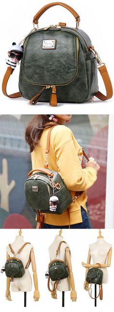 Retro Multi-function Small Square PU Shoulder Bag Handbag Lady Backpack for big sale! #square #backpack #retro #bag #shoulder #handbag