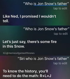Even Siri knows the truth now #gameofthrones