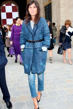 Emmanuelle Alt. Denim. Cinched Waist. Layers.