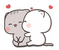 Cutie Cat-Chan four cartoon cat Cute Couple Cartoon, Cute Cartoon Pictures, Cute Love Pictures, Cute Love Cartoons, Cat Couple, Night Couple, Cute Bear Drawings, Cute Animal Drawings Kawaii, Cartoon Drawings