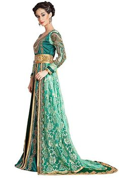 f63f0f42f8932  322.20 Kolkozy Fashion Women s wedding Morrocan kaftan Green and Gold at  Amazon Women s Clothing store