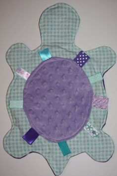 Turquoise Gingham turtle ribbon with purple minky dot shell