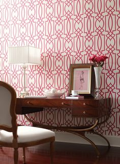 One of my favorites. Desk, chair, lamp, and wallpaper.