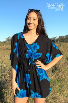 Gorgeous Kaftan in a Black & Blue Hibiscus Print - soft beach cover up. Throw this delightful kaftan over your bikinis for a day at the beach or over jeans for casual wear. Lots of colours and patterns to choose from. #coverup #kaftan #cruisewear #summer #hawaiianstyle #islandstyle #summerdress #vacation #poolside #partydress #caftan #luaudress #hensnight #tikiparty #tropical #luauparty #beachcover #resortwear #beachwear #hawaiian #hawaii #fashion #coverup #blue #hibiscus #black #bluehibiscus