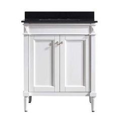 Catania 30 in. W x 22 in. D x 35 in. H Vanity in White with Granite Vanity Top in Black with Basin