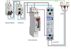 Esquemas eléctricos: maniobra reloj analogico y contactor