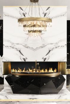 Comfortable and uniquely distinct, this intense bathroom featuring the illustrious Diamond Bathtub in Nero Marquina Faux-Marble is a majestic statement in true luxury. From the roaring flames that heat up the space to the dazzling hanging lights that fill it with intense life, this is a bathroom made to impress!