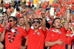 Wales fans celebrate beating Russia