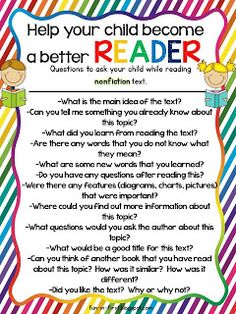 Questions to ask while reading nonfiction text...Free printables from Fun in First