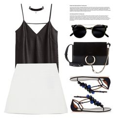 """""""Kiss me hard before you go"""" by euphemiasun97 ❤ liked on Polyvore featuring H&M, Aquazzura, Zara and Chloé"""