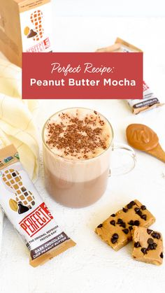 Try this warm peanut butter mocha recipe - pairs perfectly with a Dark Chocolate Chip Peanut Butter Perfect Bar Peanut Butter Mocha Recipe, Butter Recipe, Smoothie Drinks, Smoothie Recipes, Smoothies, Cake Recipes, Dessert Recipes, Drink Recipes, Jello Pudding Desserts
