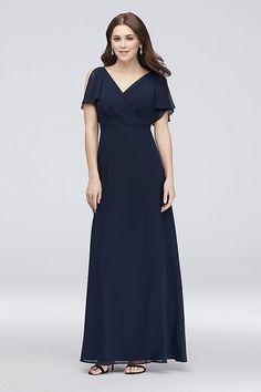 5013fa8b0 Split-Sleeve Chiffon Surplice Bridesmaid Dress | David's Bridal Bridesmaid  Dress Styles, Davids Bridal