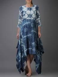 Indigo-Ivory Shibori-dyed Chanderi Dress with Asymmetrical Hem Indian Designer Outfits, Designer Dresses, Western Dresses For Women, Casual Dresses, Fashion Dresses, Look Short, Kurta Designs Women, Tie Dye Designs, Tie Dye Dress