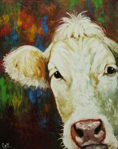 Cow painting 666 24x30 inch animal original oil painting by RozArt, $300.00