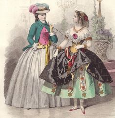 1860 FRENCH Print Plate VICTORIAN FASHION Fancy Dress Ball MASQUERADE hand paint